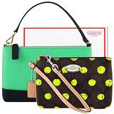 COACH 巧克力色圓點大C PVC手拿包+BANANA REPUBLIC 綠色防刮皮革手提包