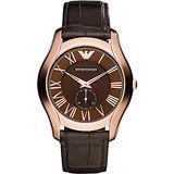 Emporio Armani Classic 羅馬小秒針腕錶-咖啡x玫瑰金/43mm AR1705