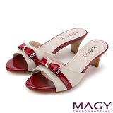 MAGY 時尚優雅名媛 細緻蝴蝶結牛皮粗跟涼拖鞋-紅色