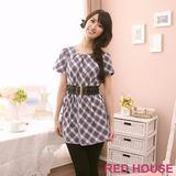 RED HOUSE-蕾赫斯-氣質格紋長版上衣-不含腰帶(藍色)