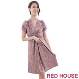 RED HOUSE-蕾赫斯-V領修身洋裝(粉桔)