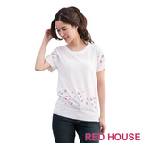 RED HOUSE-蕾赫斯-花朵寶石長版針織衫(白色)