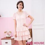 RED HOUSE-蕾赫斯-珍珠蛋糕裙雪紡洋裝(粉色)