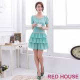 RED HOUSE-蕾赫斯-珍珠蛋糕裙雪紡洋裝(湖水綠)