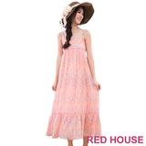 RED HOUSE-蕾赫斯-滿版花朵雪紡長洋裝(粉色)