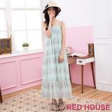 RED HOUSE-蕾赫斯-滿版花朵雪紡長洋裝(湖水綠)