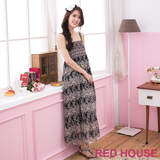RED HOUSE-蕾赫斯-滿版花朵雪紡長洋裝(黑色)