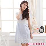 RED HOUSE-蕾赫斯-刺繡拼接蕾絲洋裝(水藍色)