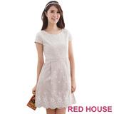 RED HOUSE-蕾赫斯-刺繡拼接蕾絲洋裝(淺咖啡)