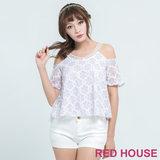RED HOUSE-蕾赫斯-花朵蕾斯露肩上衣(薰衣紫)