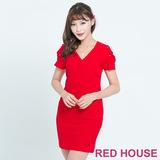 RED HOUSE-蕾赫斯-花苞袖釘鑽洋裝(紅色)