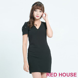 RED HOUSE-蕾赫斯-花苞袖釘鑽洋裝(黑色)