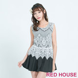 RED HOUSE-蕾赫斯-造型蕾絲拼接洋裝(黑色)
