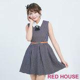 RED HOUSE-蕾赫斯-水鑽蝴蝶結幾何洋裝(藍色) 不含配件