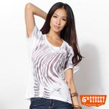 5th STREET T字斑馬紋短袖T恤-女-白色