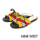 NINE WEST--輕夏亮眼交叉平底拖鞋--熱情多彩