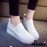 【Miaki】休閒鞋潮流限定厚底包鞋懶人鞋 (白色 / 黑色)