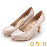 ORIN 簡約時尚名媛 嚴選真皮質感素面高跟鞋-粉色