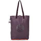 Kipling 經典Hiphurray摺疊肩背尼龍購物袋-葡萄紫