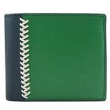 COACH 編織雙色皮革短夾附證件夾(深藍綠)