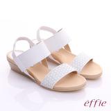 effie 個性涼夏 真皮寬版鬆緊帶小坡跟涼鞋(白)