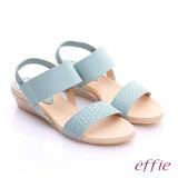 effie 個性涼夏 真皮寬版鬆緊帶小坡跟涼鞋(淺藍)