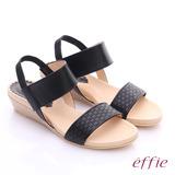 effie 個性涼夏 真皮寬版鬆緊帶小坡跟涼鞋(黑)