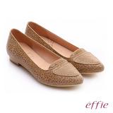 effie 繽紛舒適 真皮動物紋尖楦低跟鞋(卡其)