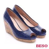 BESO 優雅極簡 壓紋真皮面魚口楔型鞋(藍)