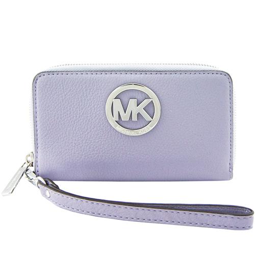 MICHAEL KORS Fulton圓MK牌飾荔枝紋牛皮對開中夾/手機夾(粉紫)