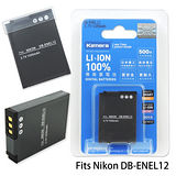 Kamera 通過BSMI認證 NIKON EN-EL12 高容量相機鋰電池