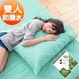 J-bedtime【幸運藤-湖水綠】杜邦防潑水X防蹣抗菌雙人床包式保潔墊