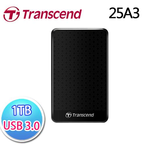 創見 StoreJet 25A3 1TB USB3.0 2.5吋纖薄抗震行動硬碟 黑