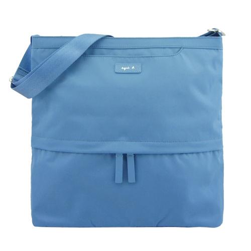 agnes b. VOYAGE尼龍皮標前口袋方型斜背包(大/天藍)