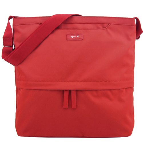 agnes b. VOYAGE尼龍皮標前口袋方型斜背包(大/紅)