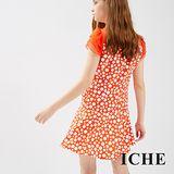 ICHE衣哲 波卡圓點拼接波浪層次袖造型洋裝