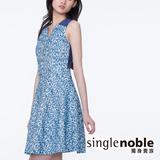 獨身貴族 粉嫩色系斑駁紋路洋裝(共3色)-藍花
