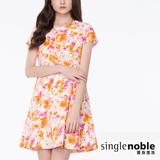 獨身貴族 雙色調玫瑰花洋裝(共2色)-桔花