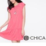 CHICA 拼接裙襬削肩洋裝-粉色