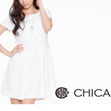 CHICA 純色優雅洋裝-米白