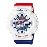 CASIO 卡西歐 Baby-G 夏日海軍風配色運動腕錶-BA-110TR-7A