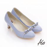 【A.S.O】舒活寬楦 全真皮金屬結飾鏡面高跟鞋(淺紫)