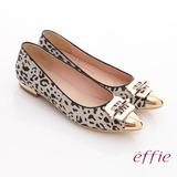 【effie】軟芯系列 絨面真皮豹紋尖楦平底鞋(淺灰)