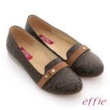 【effie】活力勁步 全牛皮豹紋奈米鞋墊窩心平底鞋(黑)