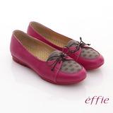 【effie】活力勁步 全牛皮格紋綁帶休閒平底鞋(桃粉紅)