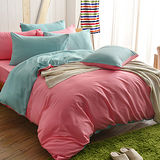 英國Abelia《漾彩混搭》雙人四件式天使絨被套床包組-粉*綠