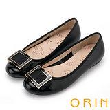 ORIN 甜美輕柔 金屬方釦造型牛皮娃娃鞋-黑色