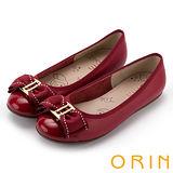 ORIN 甜美輕柔 立體雙織帶蝴蝶結牛皮娃娃鞋-紅色