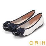 ORIN 典雅輕柔OL 立體雙織帶牛皮蝴蝶結娃娃鞋-白色