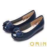 ORIN 典雅輕柔OL 立體雙織帶牛皮蝴蝶結娃娃鞋-深藍